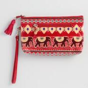 Red Leather Elephant Clutch
