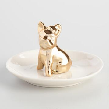 Gold Dog Ring Holder