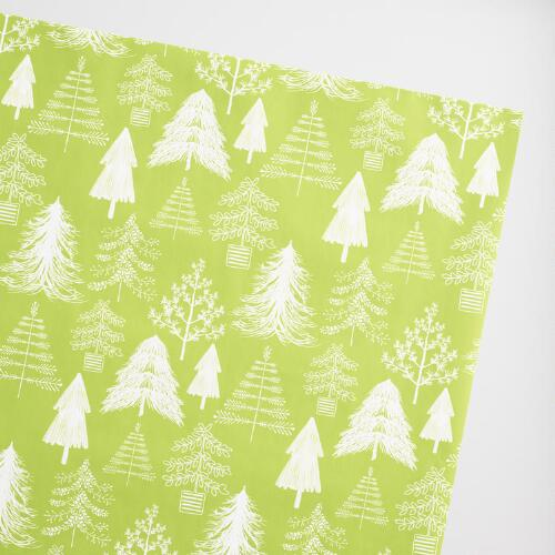 Green and White Trees Wrapping Paper Roll