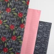 Black, White and Red Stripe Wrapping Paper Rolls 3 Pack