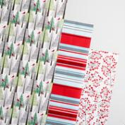 Snowbird Trees and Stripes Wrapping Paper Rolls 3 Pack