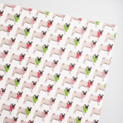 Jumbo Rows of Pugs Wrapping Paper Roll