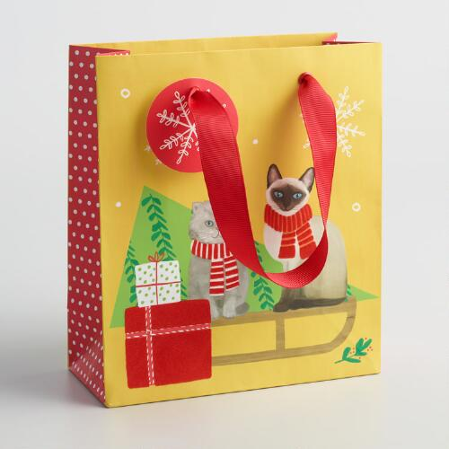 Small Sledding Cats Gift Bags Set of 2