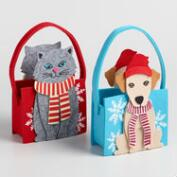 Felt Pup and Cat Containers Set of 2