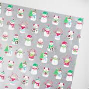 Jumbo Silver Snowmen Wrapping Paper Roll