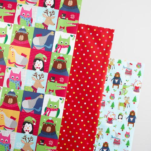 Kids Dots and Squares Wrapping Paper Rolls 3 Pack