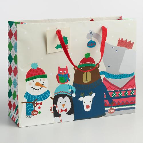 Large Kids Holiday Animals Paper Gift Bag