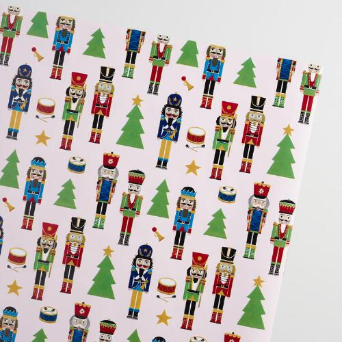 Jumbo White Nutcrackers Wrapping Paper Roll
