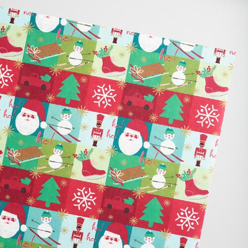 Jumbo Alpine Lodge Squares Kraft Wrapping Paper Roll
