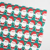 Jumbo Teal Santa Kraft Wrapping Paper Roll