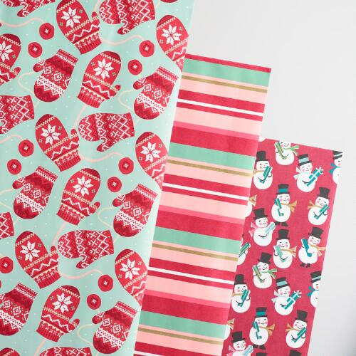 Mittens and Stripes Kraft Wrapping Paper Rolls 3 Pack