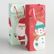 Snowman and Santa Wine Bags Set of 2