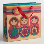 Medium Russian Dolls Striped Paper Gift Bag