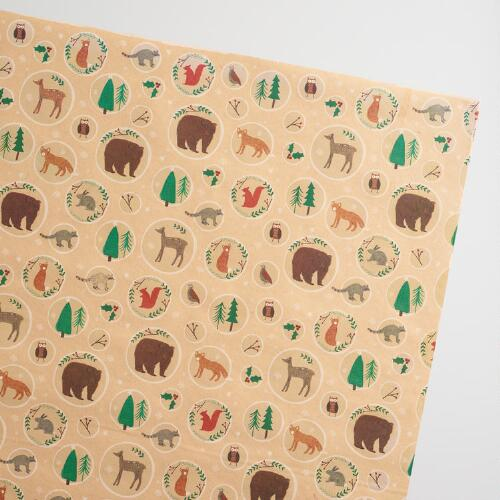 Foxes Kraft Wrapping Paper 3  Pack