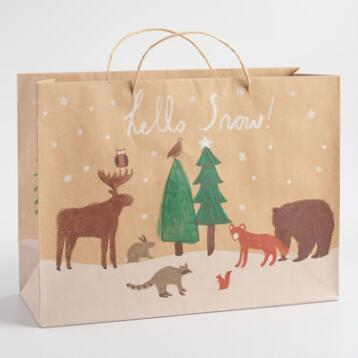 Large Hello Snow Kraft Paper Gift Bag