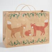 Large Fox Family Kraft Paper Gift Bag