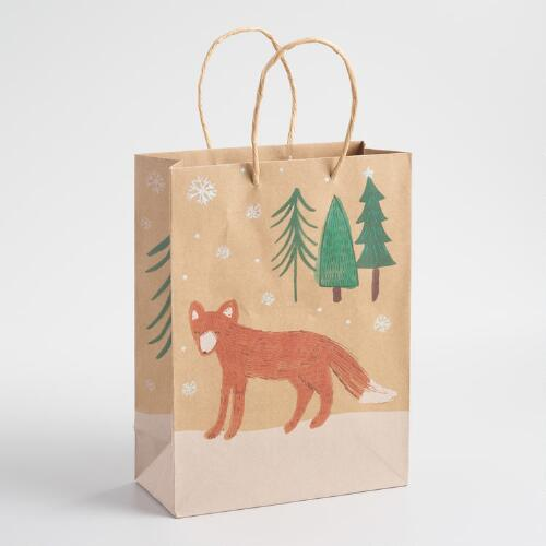 Medium Fox Kraft Gift Bag