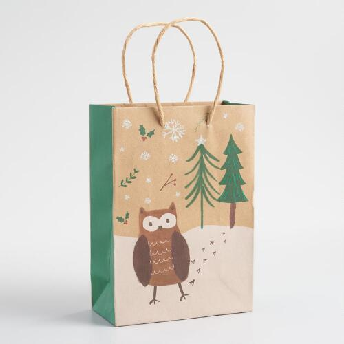 Small Owl Kraft Gift Bags Set of 2