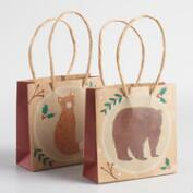 Mini Fox and Bear Kraft Gift Bags Set of 2