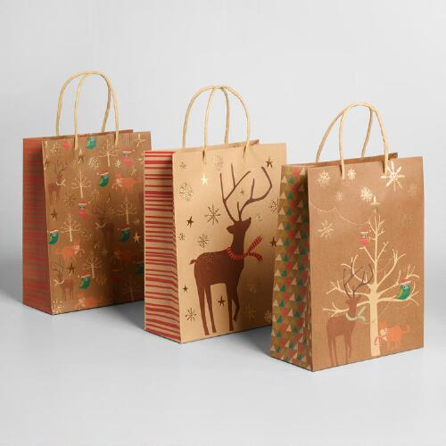 Medium Animals With Trees Kraft Gift Bags Set of 3