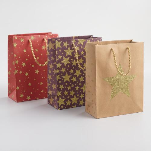 Medium Glitter Stars Gift Bags Set of 3