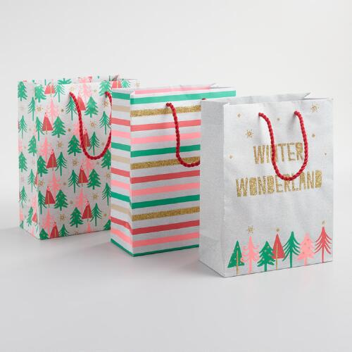 Medium Neon Kraft Gift Bags Set of 3