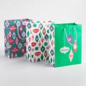 Medium Bright Ornaments Gift Bags Set of 3