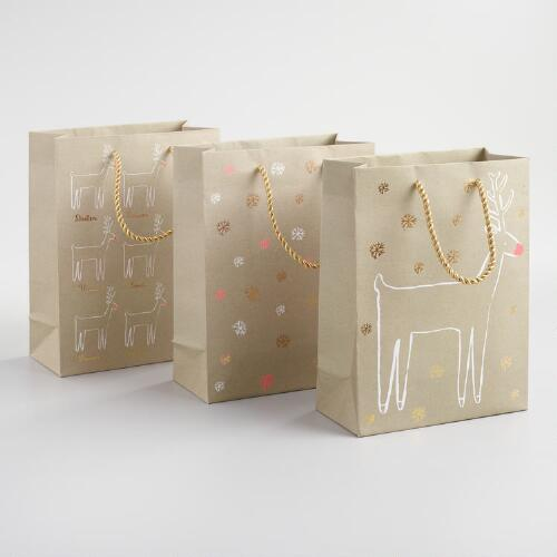 Medium Reindeer Gift Bags Set of 3