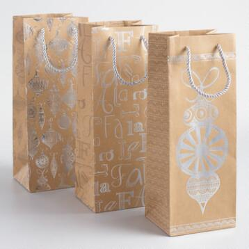 Silver Ornament Kraft Wine Bags Set of 3
