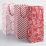 Red and White Wonderland Wine Bags Set of 3