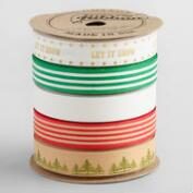 Biodegradable Christmas Message Cotton Ribbon 5 Pack