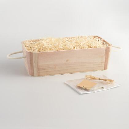 Wood Basket Gift Kit With Rope Handles
