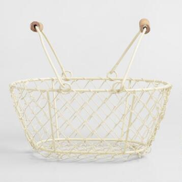 Cream Mini Wire Baskets Set of 2