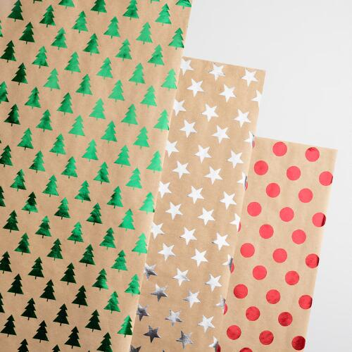 Christmas Foil Kraft Wrapping Paper Rolls Set of 3