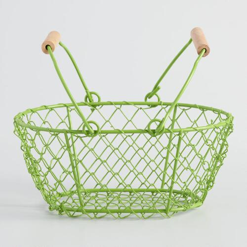 Mini Green Wire Baskets Set of 2