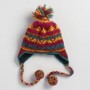 Maroon Fair Isle Wool Trapper Hat