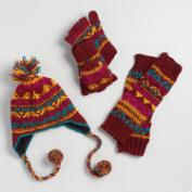 Maroon Fair Isle Hat, Gloves and Leg Warmer Collection