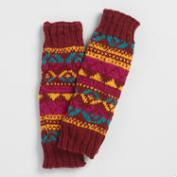 Maroon Fair Isle Wool Leg Warmers