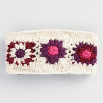 Ivory and Purple Crochet Wool Head Warmer