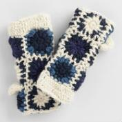 Blue and Ivory Crochet Wool Mittens