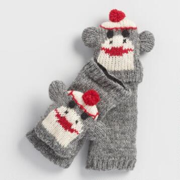 Wool Sock Monkey Gloves
