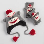 Sock Monkey Wool Hat and Gloves Collection
