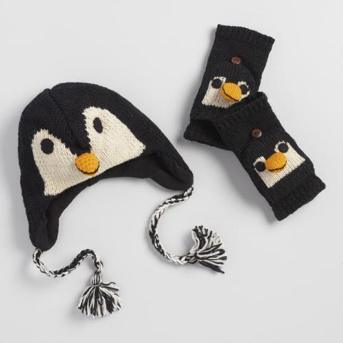 Penguin Wool Hat and Gloves Collection