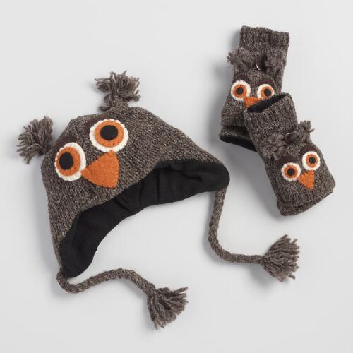 Owl Wool Hat and Gloves Collection