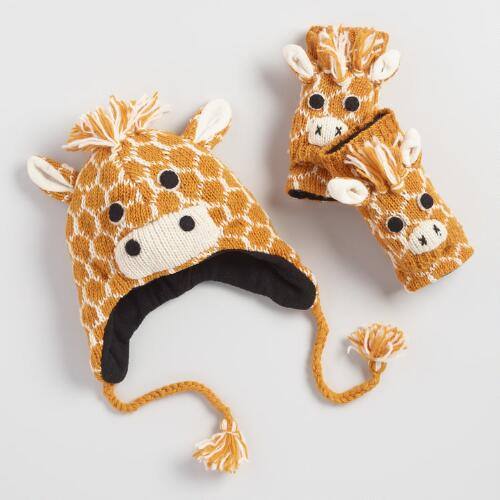 Giraffe Wool Hat and Gloves Collection
