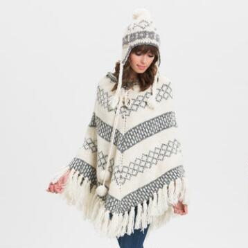 Ivory and Gray Wool Poncho with Poms