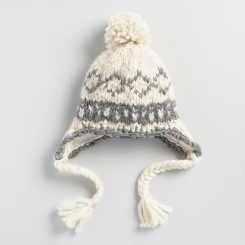 Ivory and Gray Wool Trapper Hat