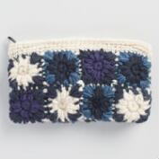 Blue and Ivory Crochet Wool Pouch