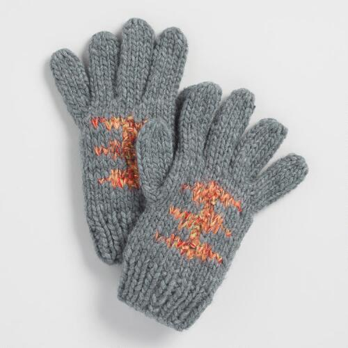 Gray Multicolor Gloves with Pom Poms