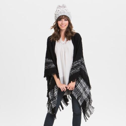 Oversized Black Boucle Wrap
